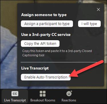 activer la transcription en direct