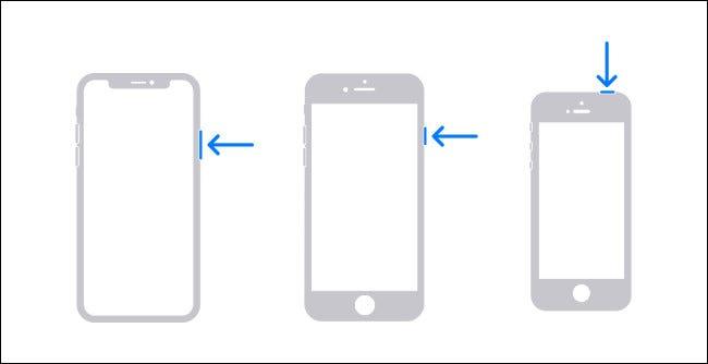 Schéma montrant les boutons matériels que vous devez maintenir pour éteindre un iPhone.
