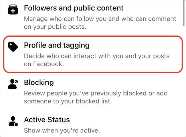 Accéder au profil Facebook et aux paramètres de marquage sur mobile
