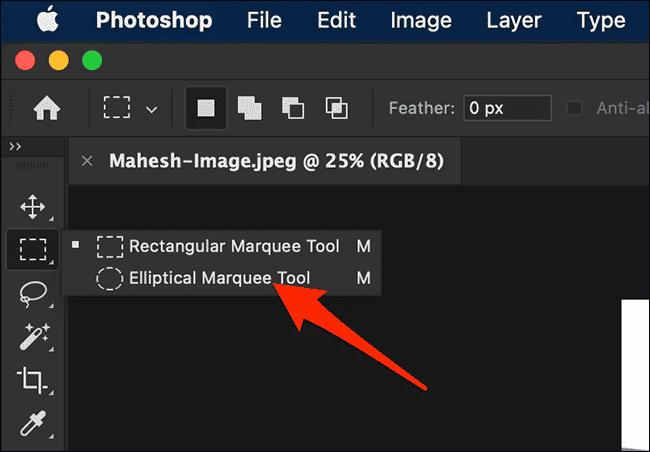 Sélectionnez l'outil de sélection elliptique dans la fenêtre Photoshop