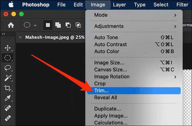 Option de rognage dans le menu Image de Photoshop