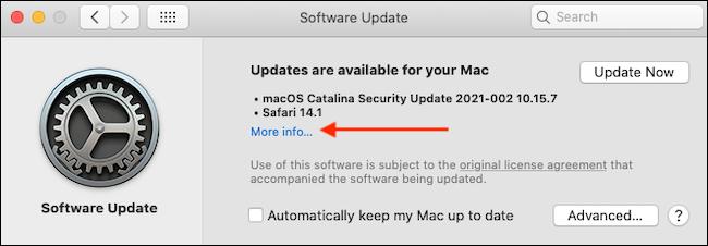 """Cliquez sur """"Plus d'informations"""" dans la mise à jour du logiciel."""
