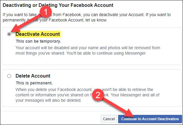 """Sélectionner """"Désactiver le compte"""" puis cliquez sur """"Continuez jusqu'à la désactivation du compte."""""""