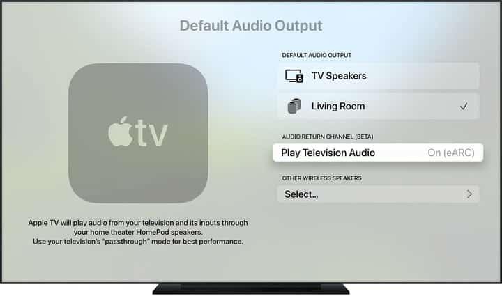 Écran des paramètres audio sur l'Apple TV 4K (2021)