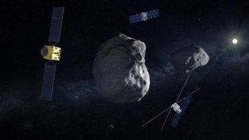 Vue d'artiste de la mission Hera de l'ESA, un petit vaisseau spatial qui vise à déterminer si un astéroïde à destination de la Terre pourrait être dévié.