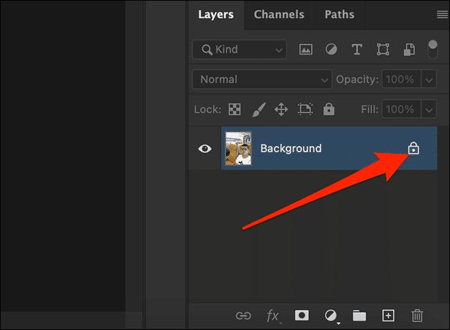 Cliquez sur l'icône de verrouillage dans le panneau Calques de la fenêtre Photoshop